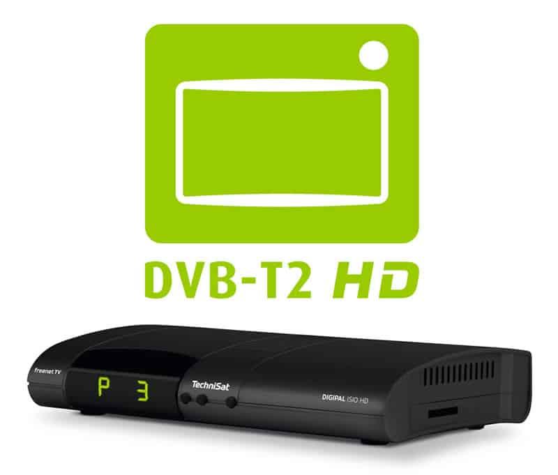 DVB-T2 Receiver mit dem grünen DVB-T2 HD Logo
