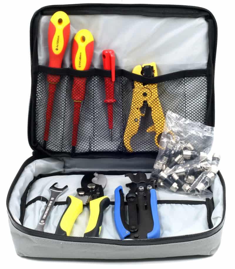 Sat-Zubehör: Professionelles Montagewerkzeug in praktischer Tasche