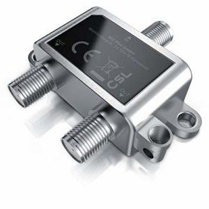 Bild des Produktes 'CSL – SAT Verteiler Voll geschirmt (2-Wege), 5-2400 MHz / digital-tauglich - - SAT splitter/distributor (2-way) - 2-fa...'