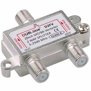 Bild des Produktes 'Sat & BK-Verteiler - 2-Fach Splitter - voll geschirmt - Unicable & HD tauglich [DUR-line D2FV - für Satelliten-...'