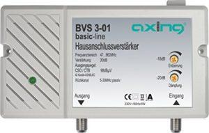 Bild des Produktes 'Axing BVS 3-01 Hausanschlussverstärker mit Rückkanal 5-30 MHz (30 dB, 47-862 MHz, 98 dBµV)'