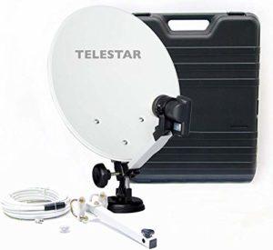 Bild des Produktes 'Telestar Camping-Sat-Anlage (Hartschalenkoffer, 13,7 Zoll (35 cm) Spiegel , Single-LNB (0,1dB), Kompass, Kabel 10m, dive'