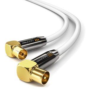 Bild des Produktes 'deleyCON 2m TV Antennenkabel PREMIUM HDTV Full HD - 2x gewinkelt - Koaxialkabel - TV-Stecker (90° Grad) zu TV-Buchse (9'
