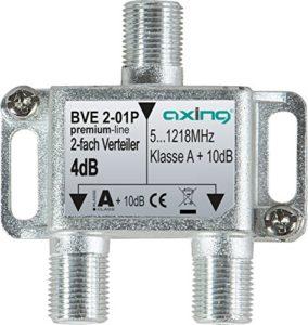 Bild des Produktes 'Axing BVE 2-01P 2-Fach Verteiler Kabelfernsehen CATV Multimedia DVB-T2 Klasse A+, 10dB, 5-1218 MHz Metall'