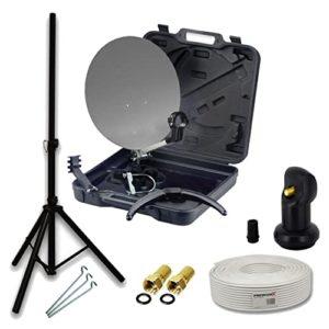 Bild des Produktes 'PremiumX HD Camping SAT Anlage im Transport-Koffer Schüssel mit Digital Single LNB 4K + 10m Koax-TV-Kabel mit F-Stecker'