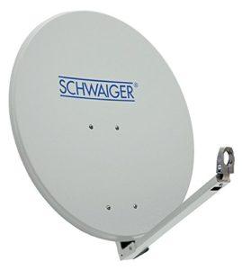 Bild des Produktes 'SCHWAIGER 210- Satellitenschüssel, Sat Antenne mit LNB Tragarm und Masthalterung, Sat-Schüssel aus Aluminium, Hellgrau'