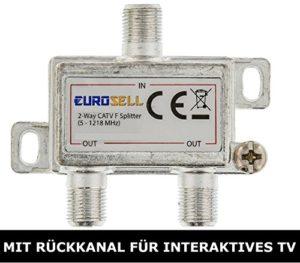 Bild des Produktes 'Eurosell - New Premium Line Antennenverteiler BK-Verteiler 4.2 dB / 5-1218 MHz - 2 Ausgänge - mit Rückkanal - DVB-S DV'