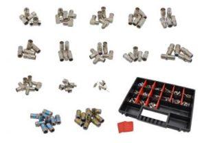 Bild des Produktes 'maxx.onLine 80 teiliges TV Antennen Adapter & F-Stecker Installations Set für Antennenkabel, Koaxkabel, Sat-TV, Kabel'