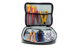 Bild des Produktes 'Werkzeugset für Antenneninstallation mit Kompressionszange, Abisolierer, Schraubendreher, Kabelschneider, Montageschlü'