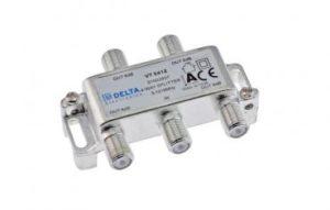 Bild des Produktes 'DCT-Delta, F-Verteiler 4-fach 5-1218 MHz, TV-Verteiler, BK-Verteiler, DVB-C, Kabelfernsehen, Splitter, CLASS A + 10dB'