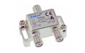 Bild des Produktes 'DCT-Delta, F-Verteiler 2-fach 5-1218 MHz, TV-Verteiler, BK-Verteiler, DVB-C, Kabelfernsehen, Splitter, CLASS A + 10dB'